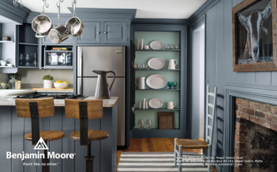 Gray Kitchen with Blue Shelving