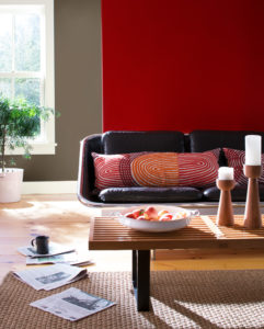 Living Room with Red Orange Accents