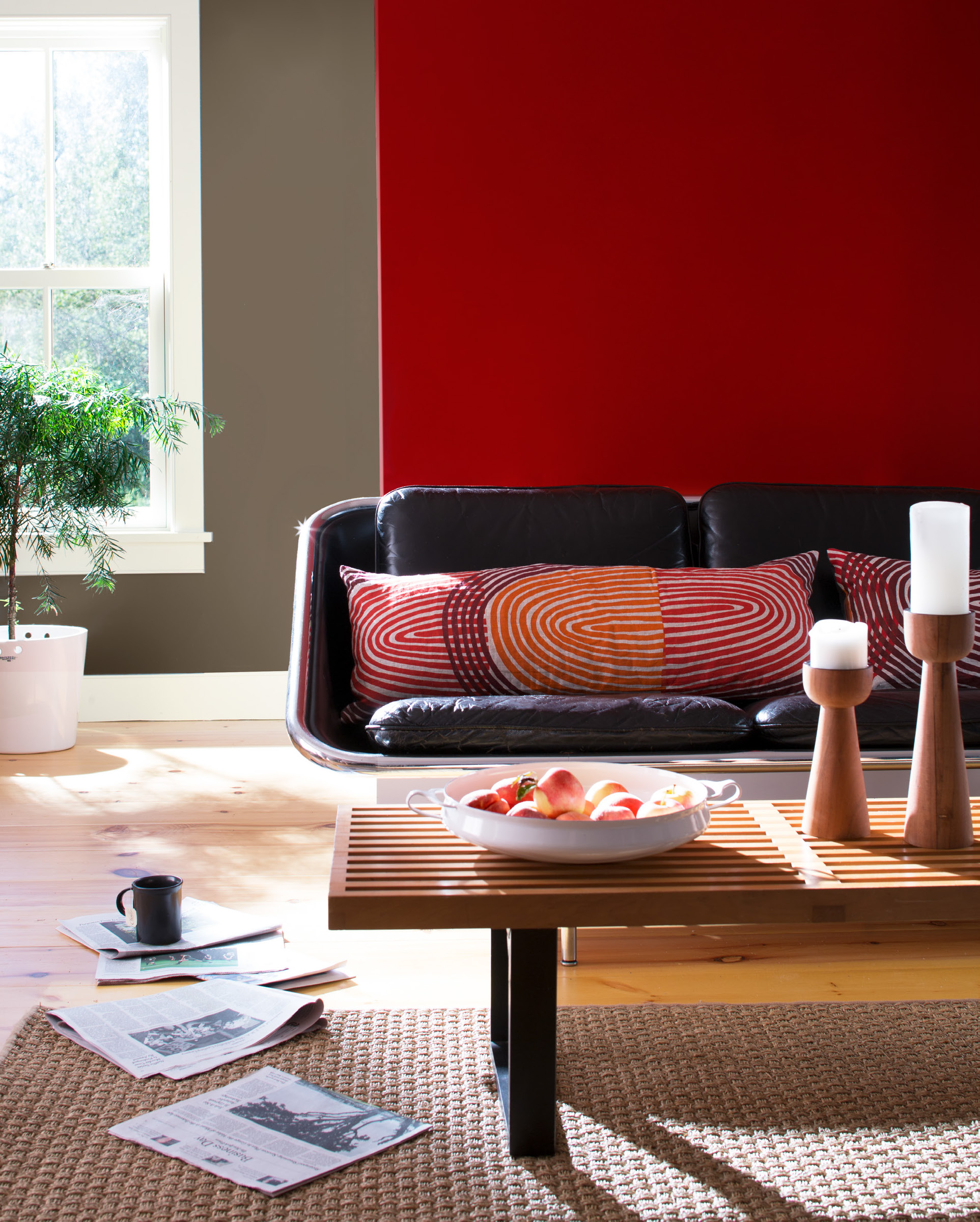 Living Room with Red Orange Accents – ColorMaxx